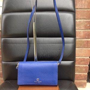 kate spade cobalt blue  flap crossbody bag